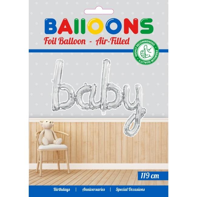 Folieballon Baby Zilver voor LUCHT 119cm