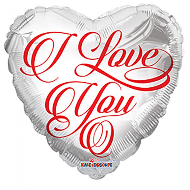 Folieballon Hart I Love You Wit/Rood 46cm