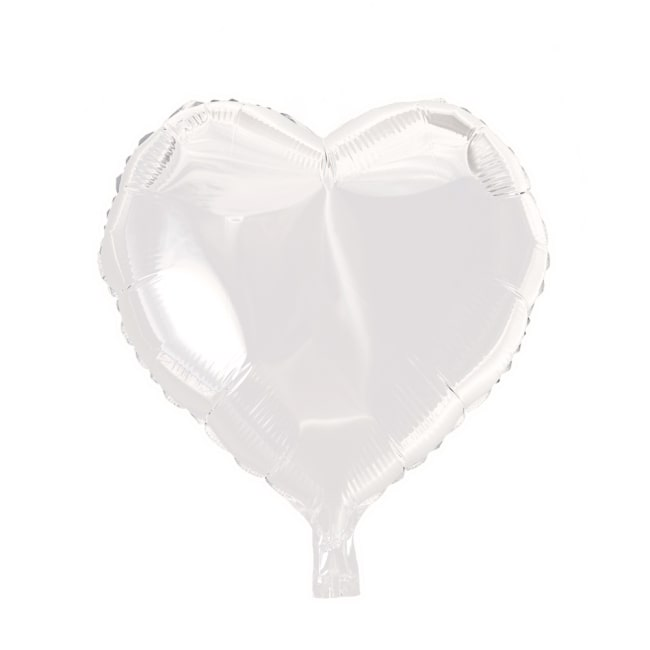 Folieballon Hart Uni Wit 46cm