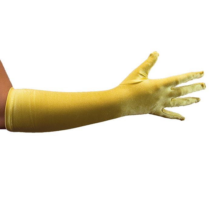 Handschoenen Satijn 40cm Geel