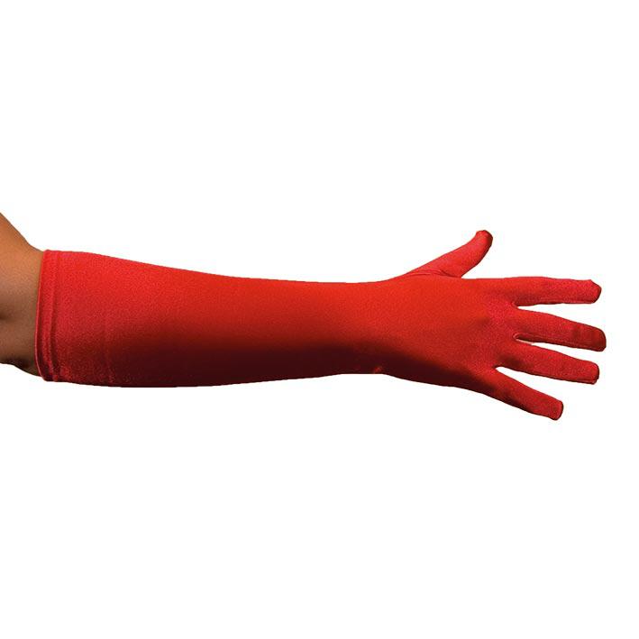 Handschoenen Satijn 40cm Rood