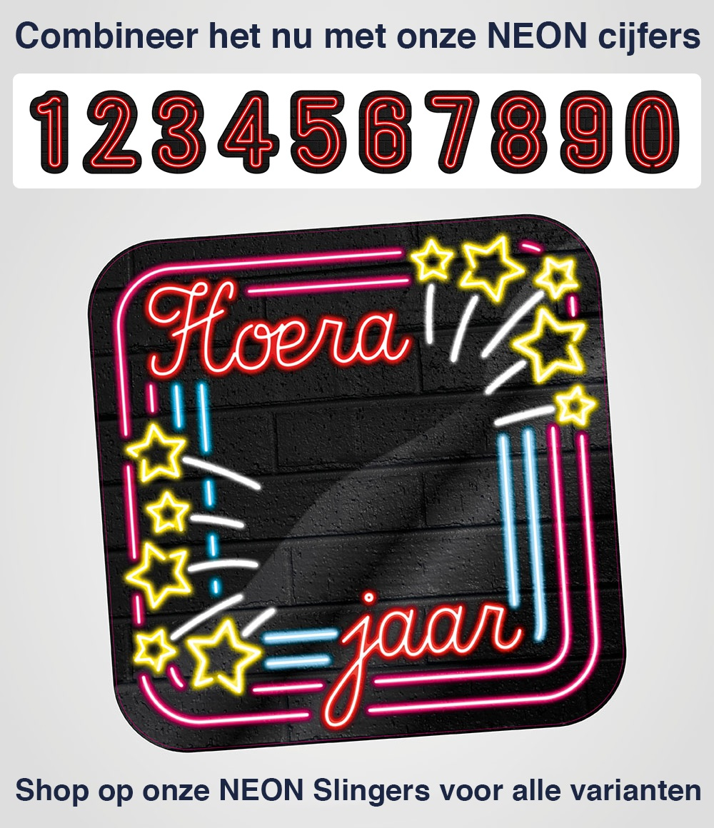 Huldeschild Neon Hoera .. jaar