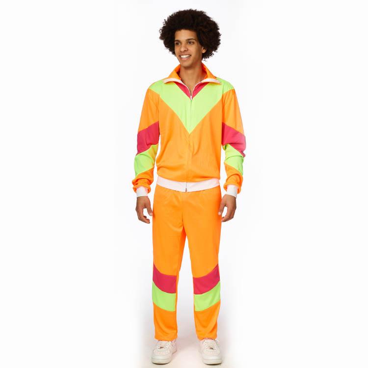 Kostuum 80's Trainingspak Fluor/Neon Heren