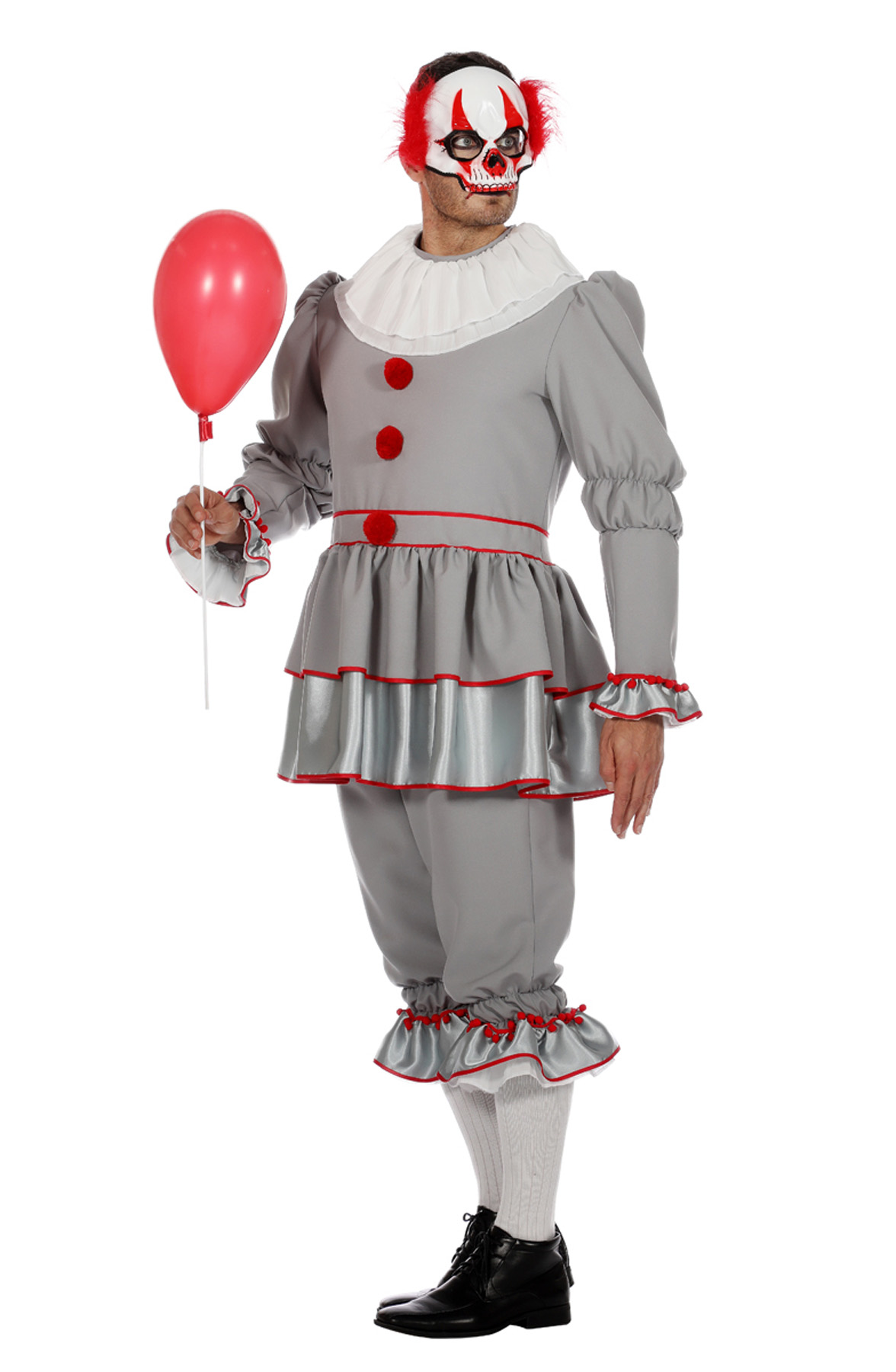 Kostuum Clown It Grijs Heren
