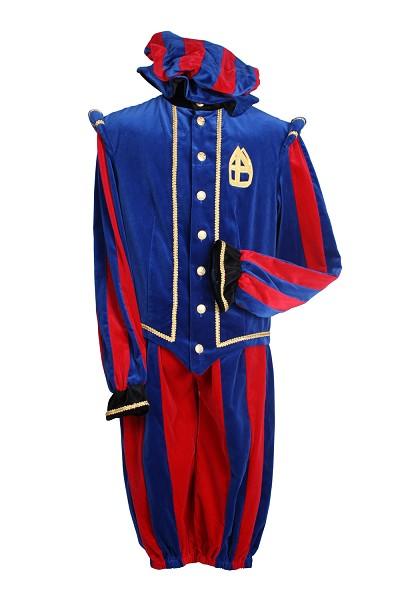 Kostuum Piet Pamplona Rood/Blauw Mt.S