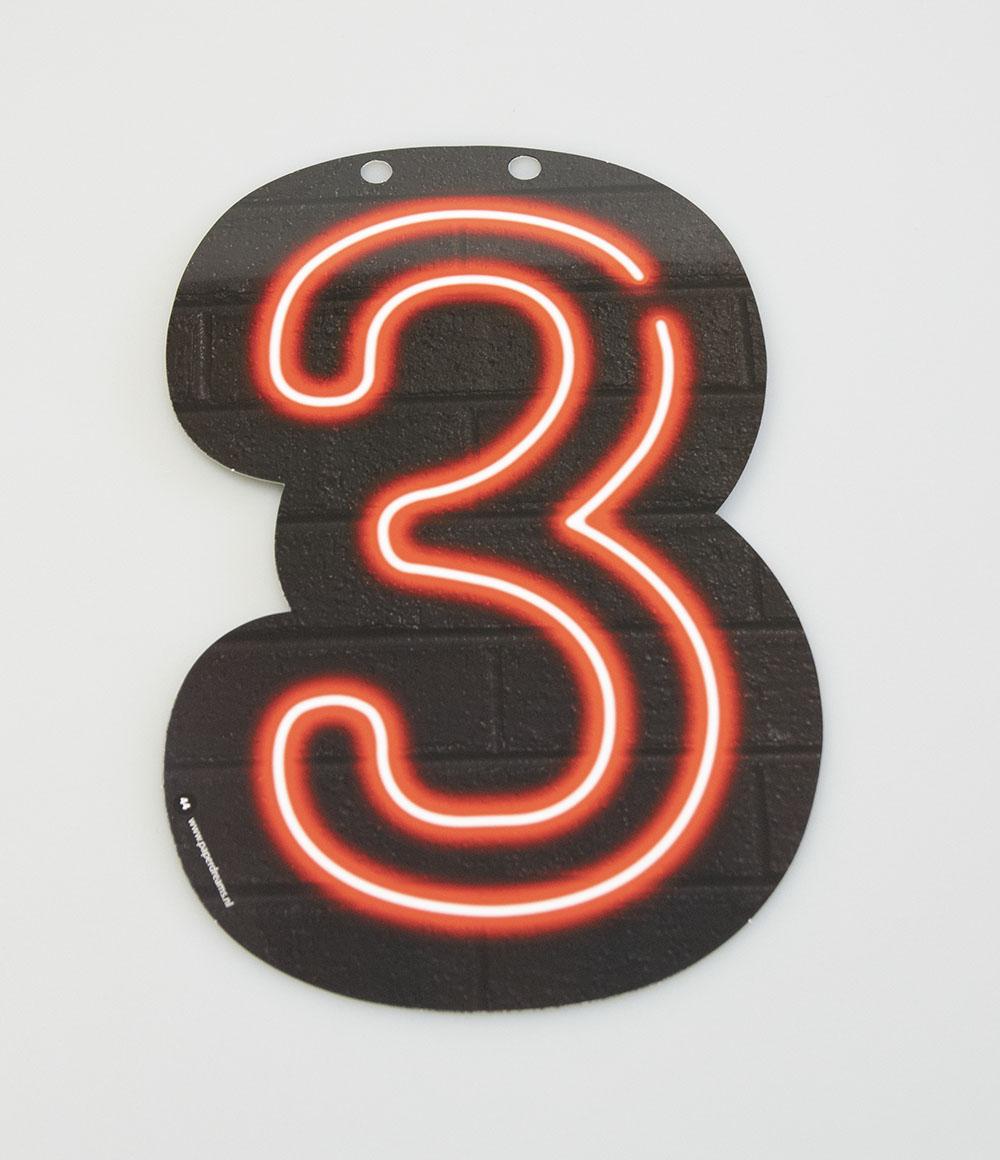 Letterslinger Cijfer-3 Neon