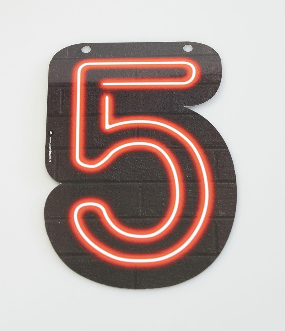 Letterslinger Cijfer-5 Neon