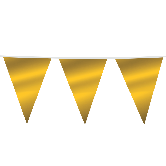 10m Maxi Vlaggenlijn Uni Goud Metallic