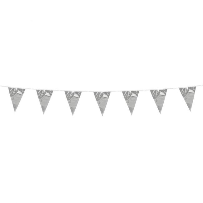 3m Mini Vlaggenlijn Uni Zilver Metallic