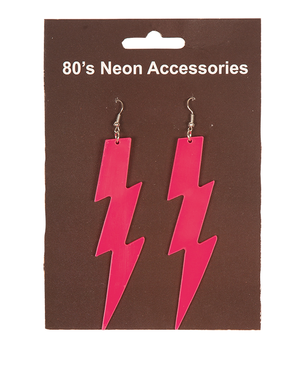 Oorbellen 80's Bliksem Fluor/Neon Roze