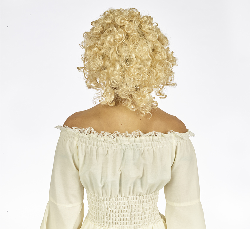 Pruik Halflang Krul Blond