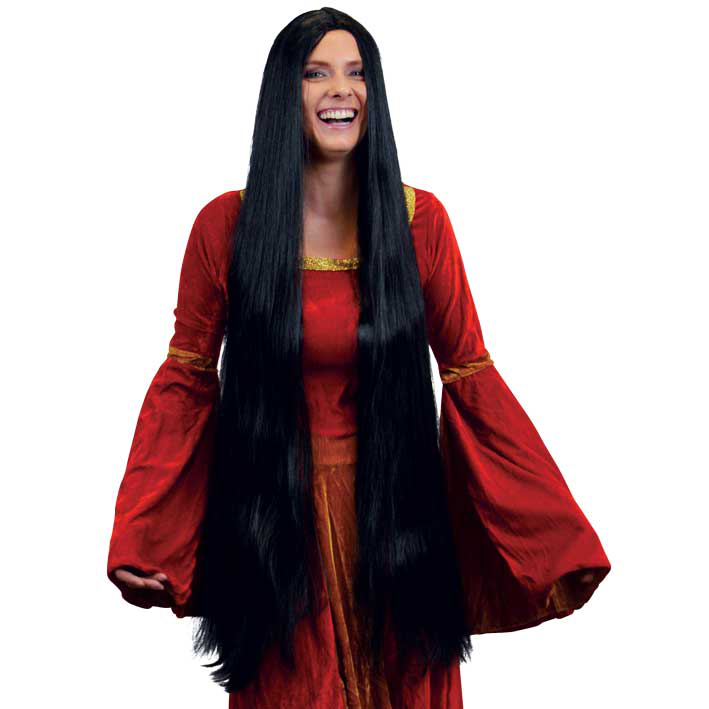 Pruik Lady Godiva Zwart (extra lang)