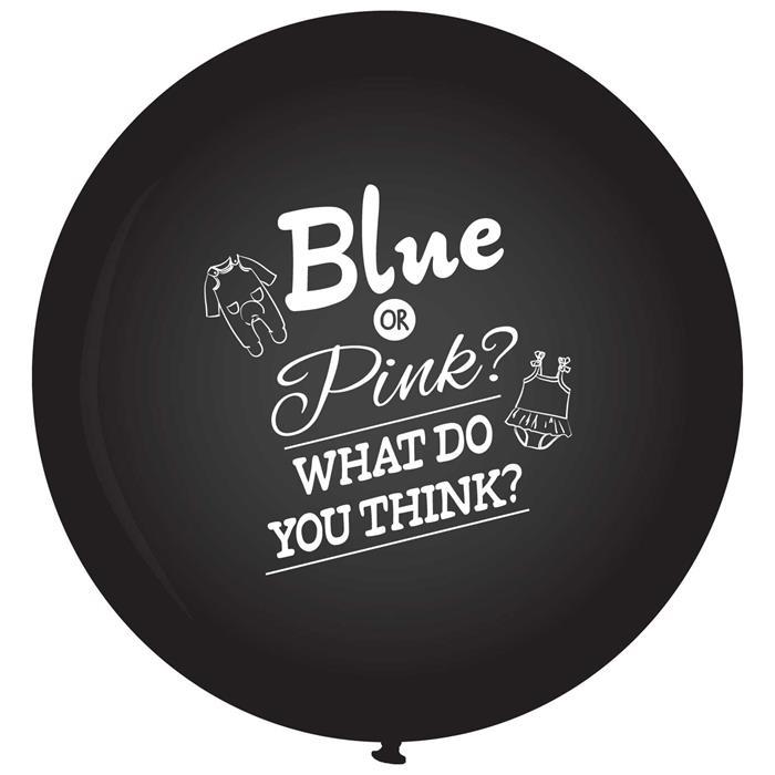 Reuze Ballon Zwart 90cm Blue/Pink