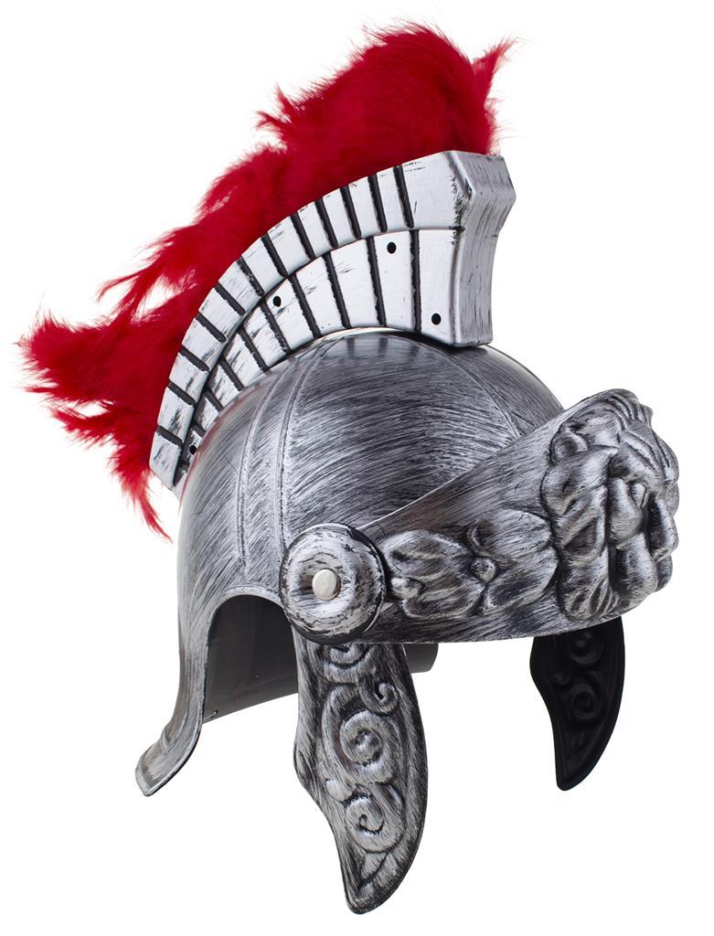Ridder Helm Zilver met Rode Pluimen Luxe