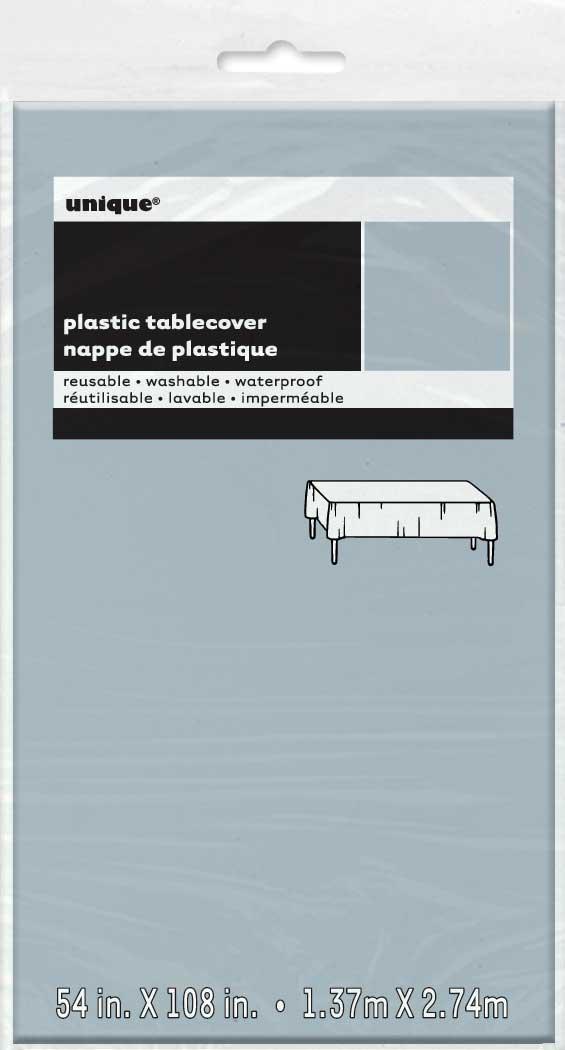 Tafelkleed Plastic Uni Zilver 137x274cm