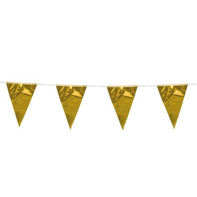 10m Vlaggenlijn Uni Goud Metallic