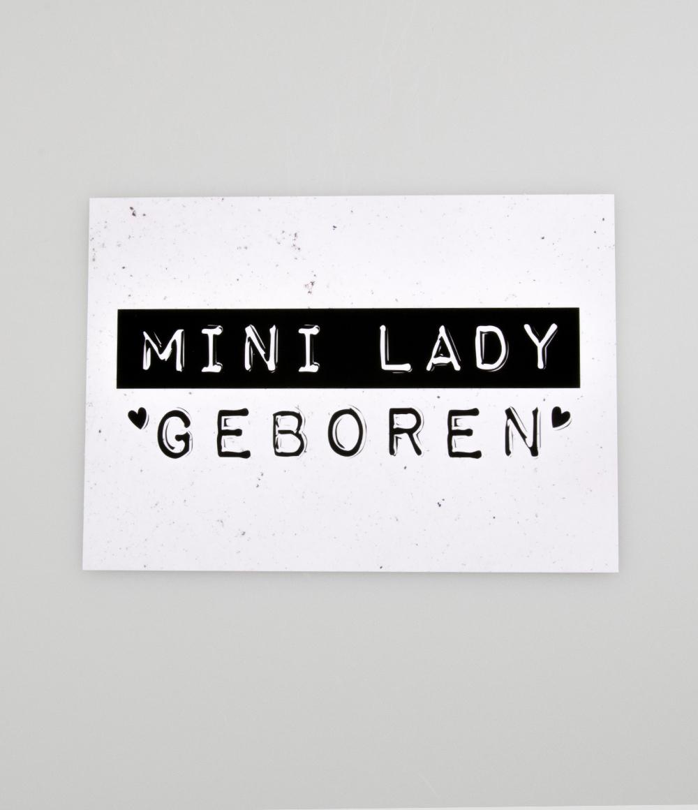 """Wenskaart Black&White """"Mini Lady Geboren"""""""