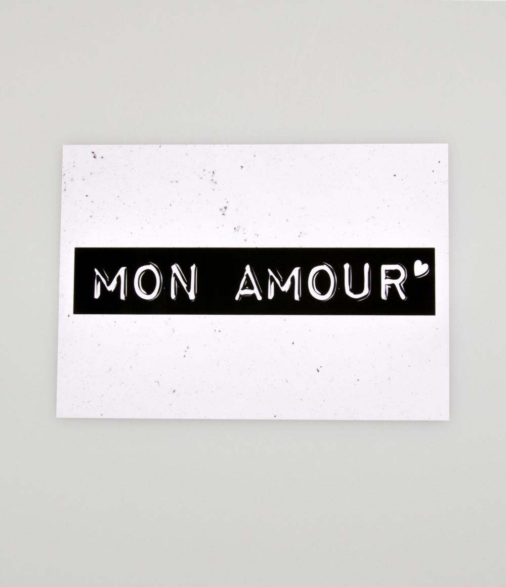 "Wenskaart Black&White ""Mon Amour"""
