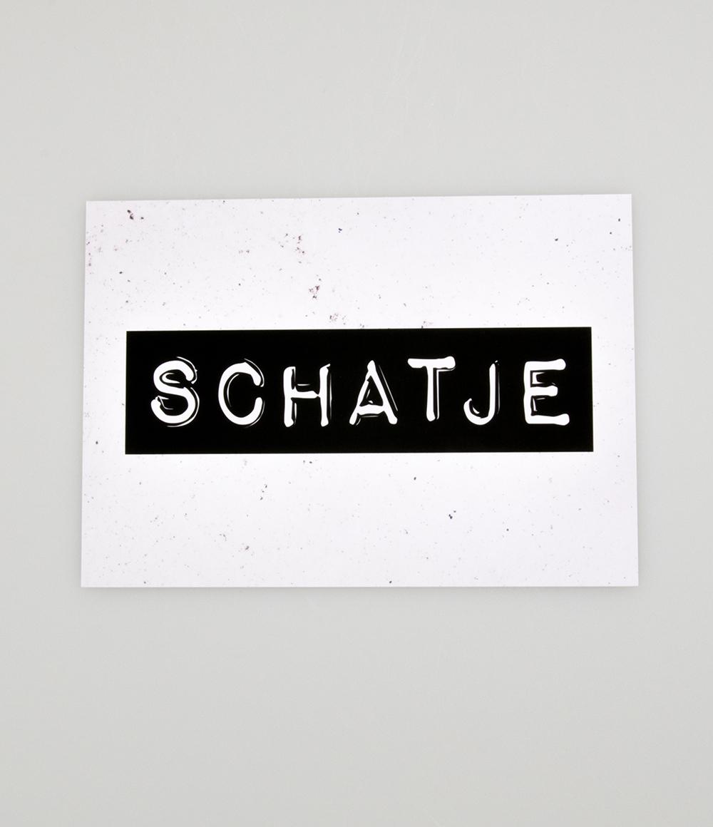 """Wenskaart Black&White """"Schatje"""""""