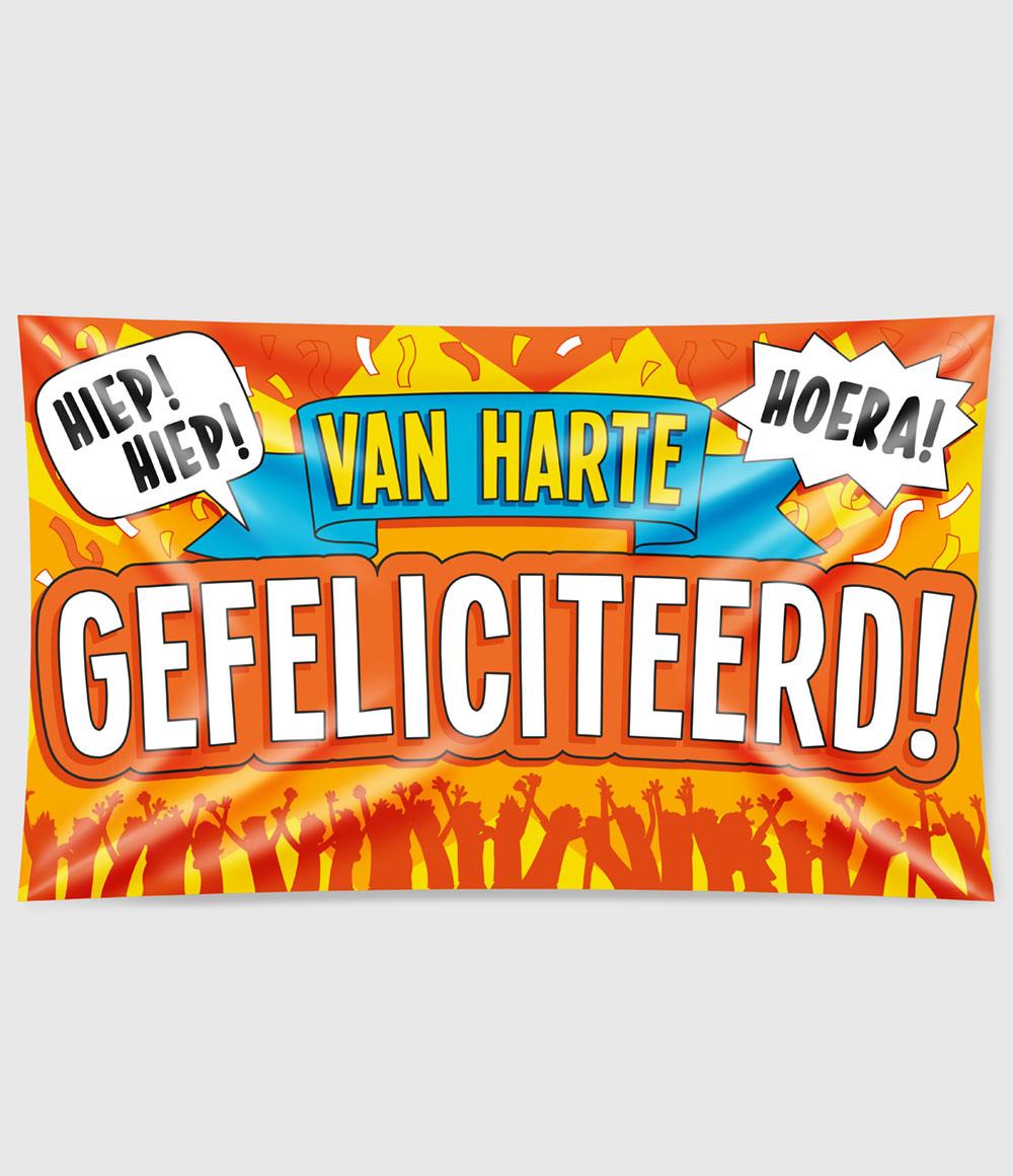 XXL Gevelvlag Van Harte Gefeliciteerd!