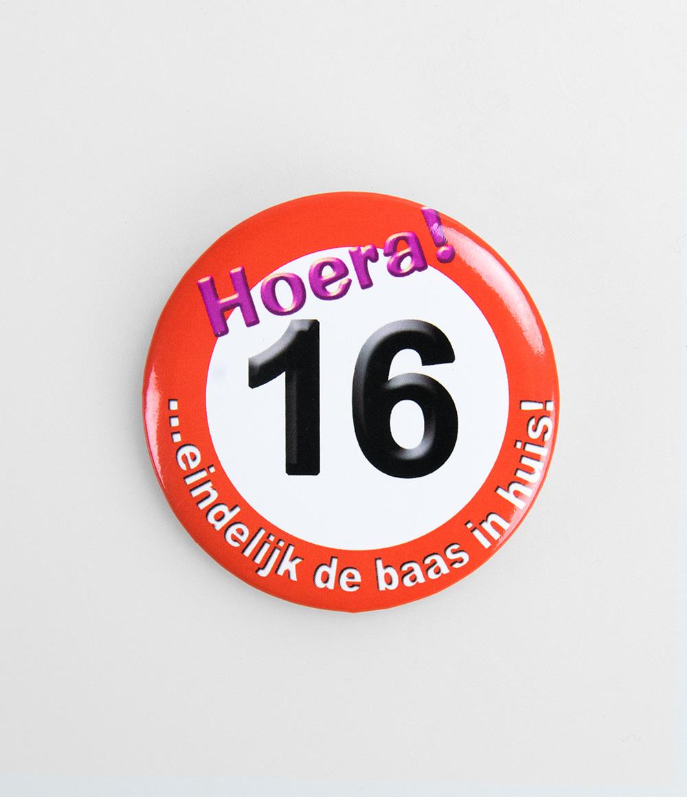 Button Verkeersbord 16 jaar