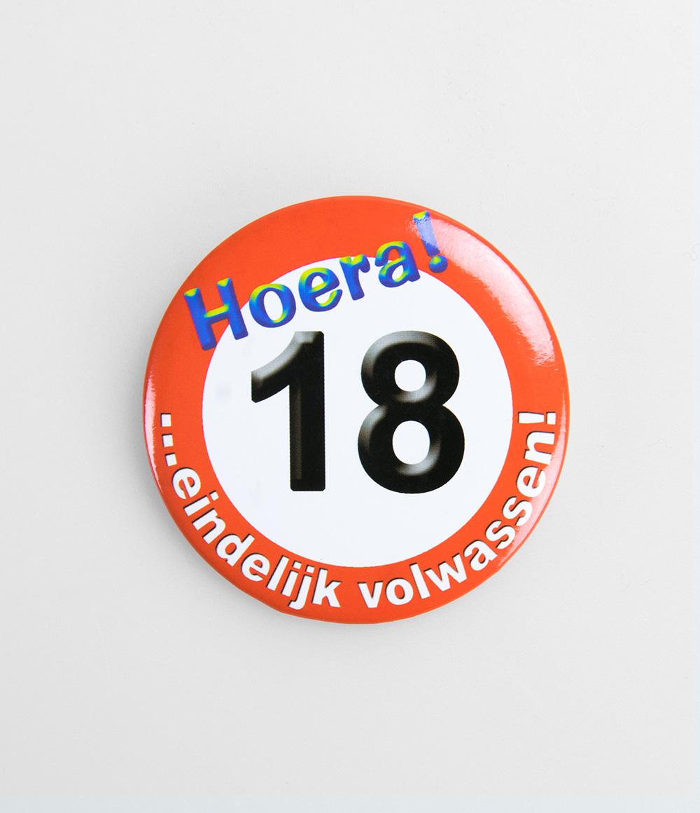 Button Verkeersbord 18 jaar