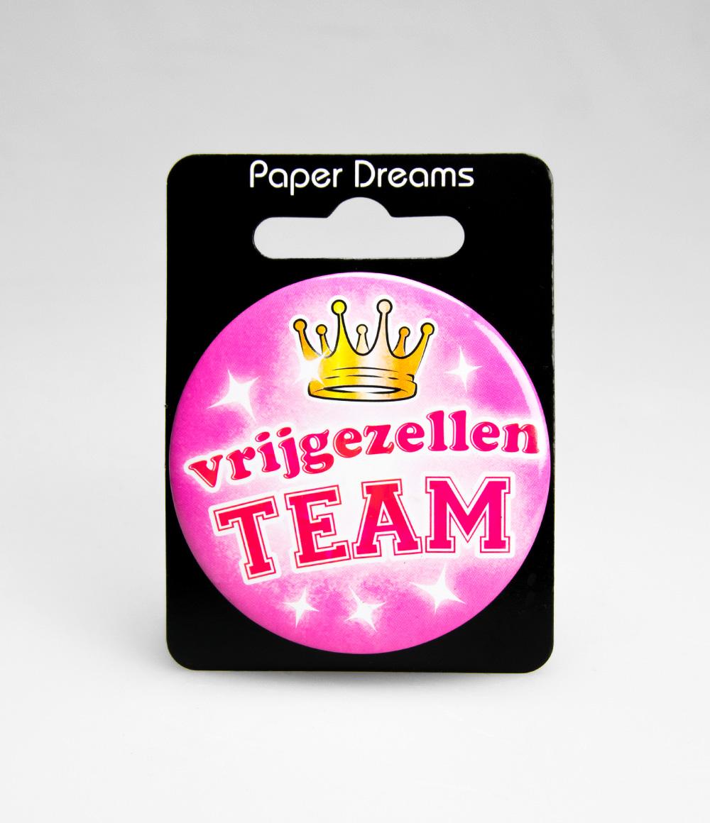 Button Vrijgezellen Team Roze