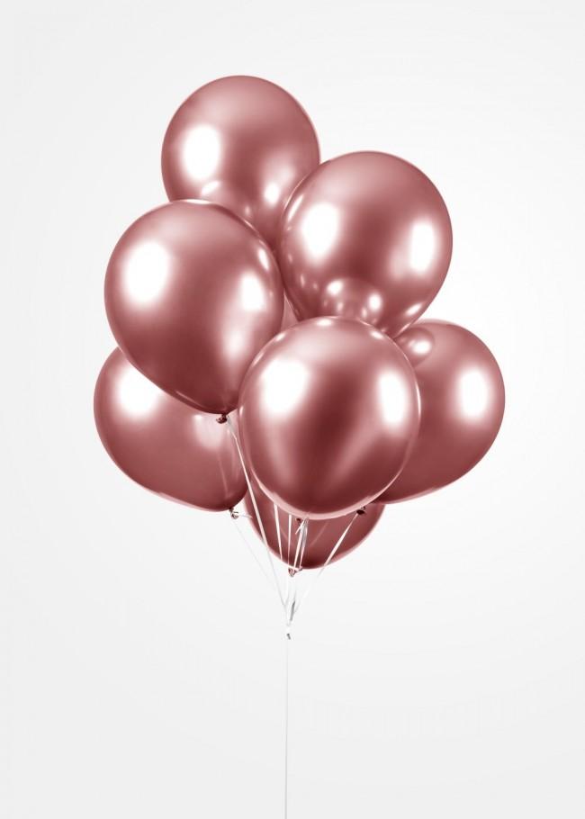 "100st Chrome Ballonnen Roségoud 12"""