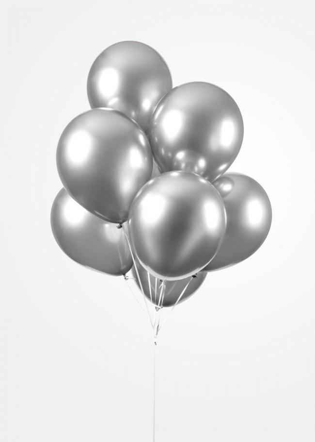 """100st Chrome Ballonnen Zilver 12"""""""