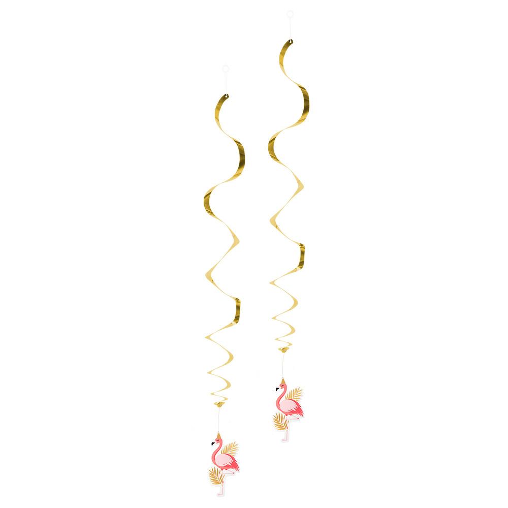2st Hangdecoratie Spiraal Flamingo 85cm