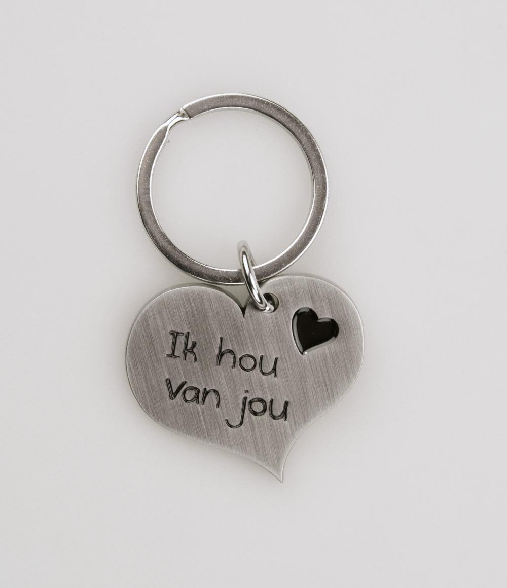 Hart Sleutelhanger Ik hou van jou 2