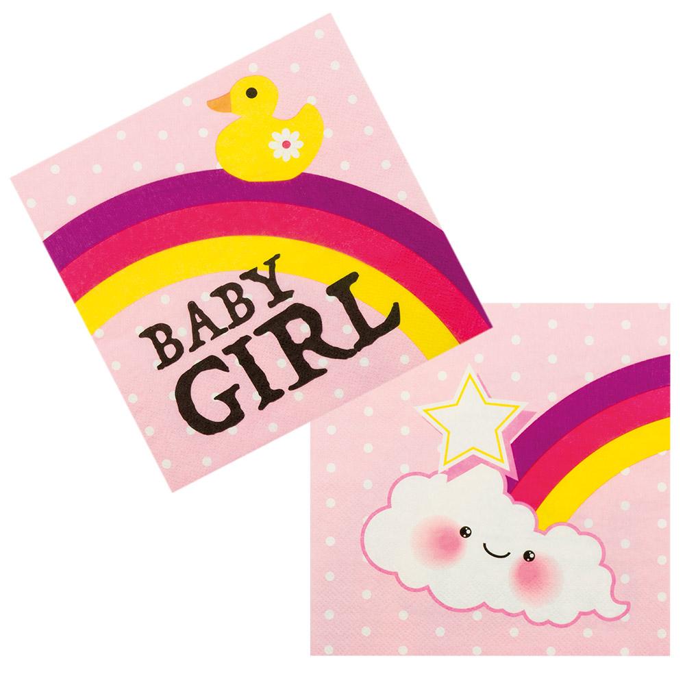12st Servetten Baby Girl Roze 33x33cm