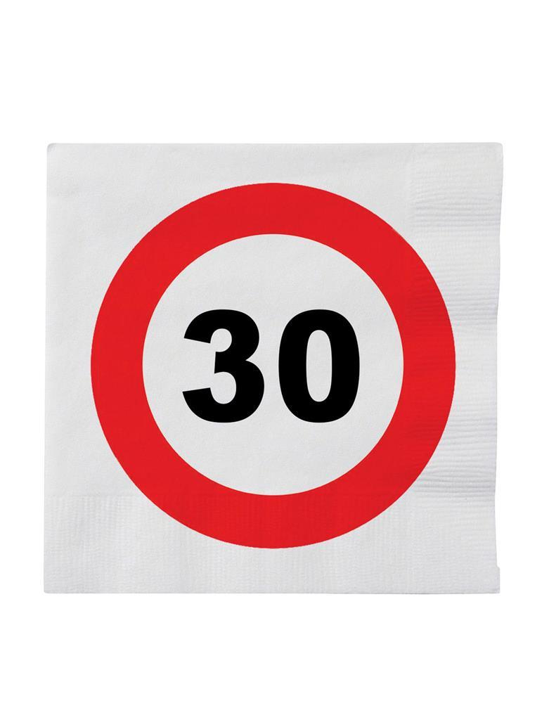 20st Servetten Verkeersbord 30 jaar 33x33cm