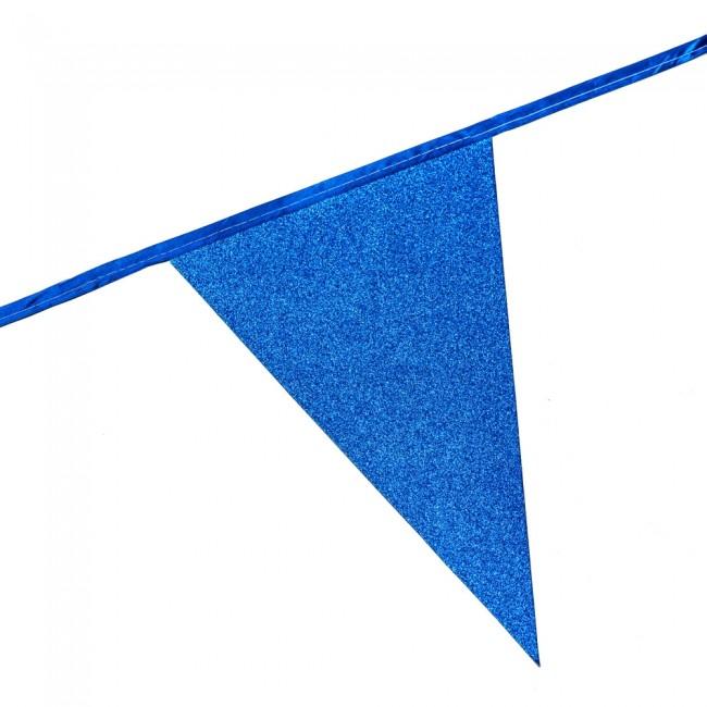 6m Vlaggenlijn Glitter Dubbelzijdig Blauw Brandv.
