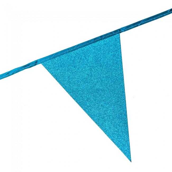 6m Vlaggenlijn Glitter Dubbelzijdig Licht Blauw Brandv.