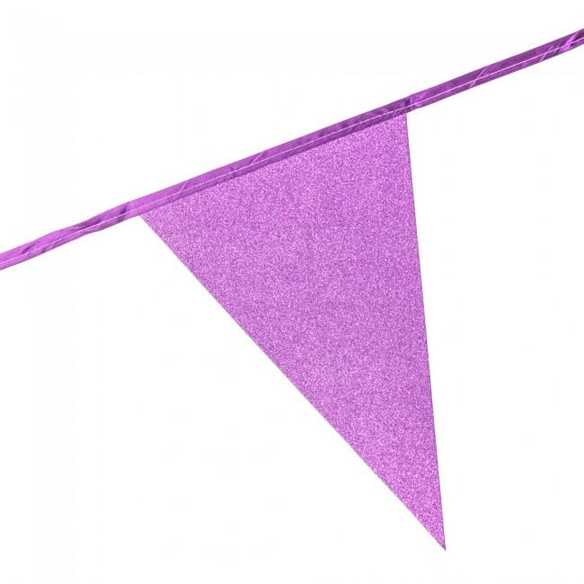 6m Vlaggenlijn Glitter Dubbelzijdig Licht Roze Brandv.
