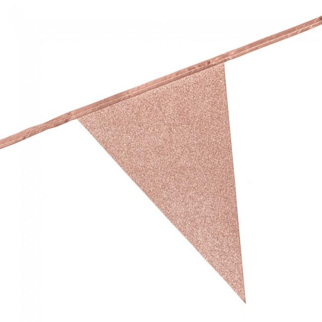 6m Vlaggenlijn Glitter Dubbelzijdig Roségoud Brandv.
