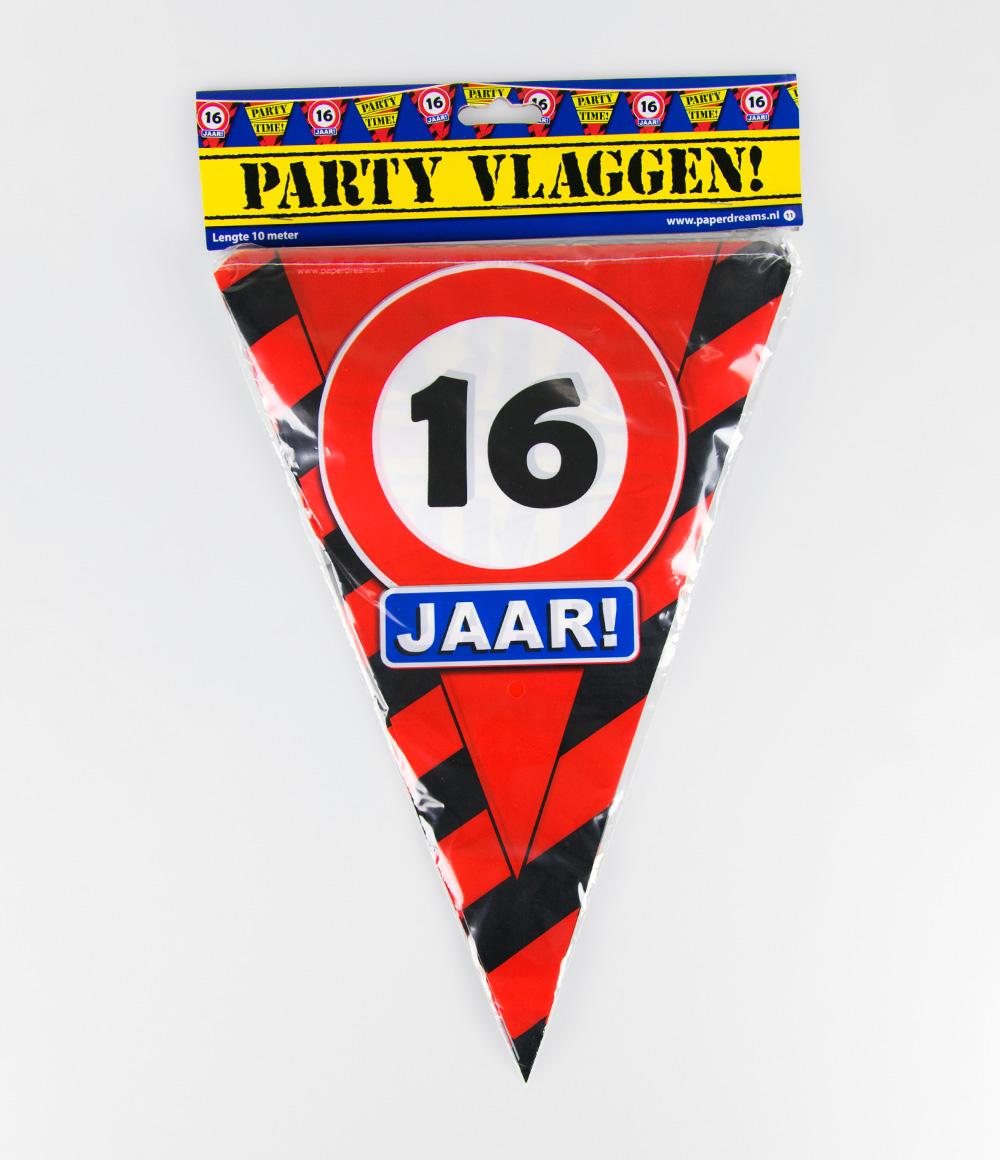 10m Vlaggenlijn Verkeersbord 16 jaar