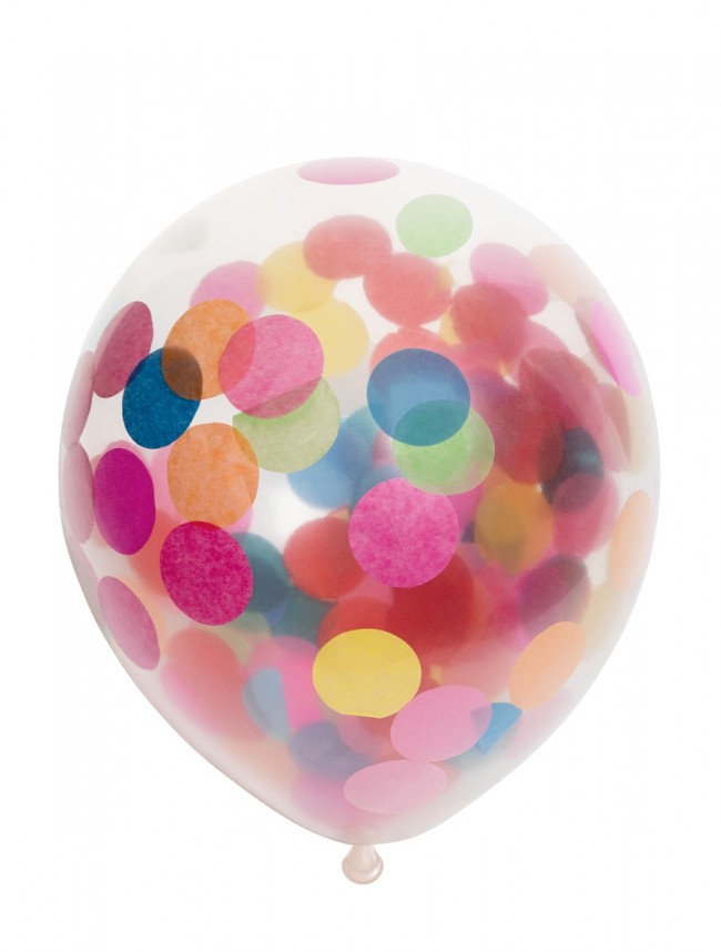 "6st Ballonnen met Confetti Assorti 12"""