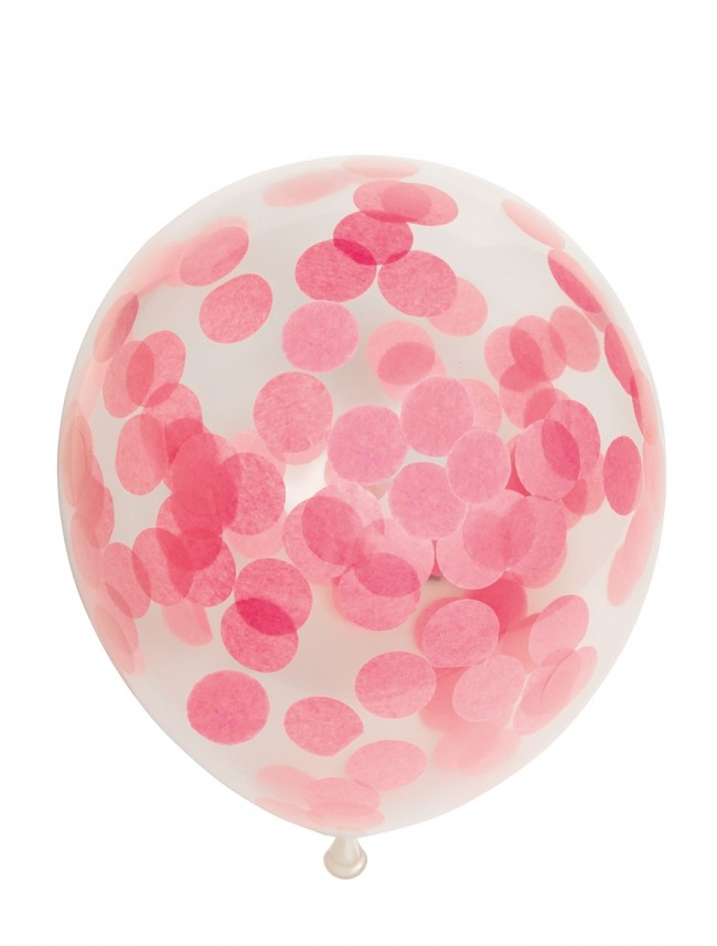 "6st Ballonnen met Confetti Licht Roze 12"""