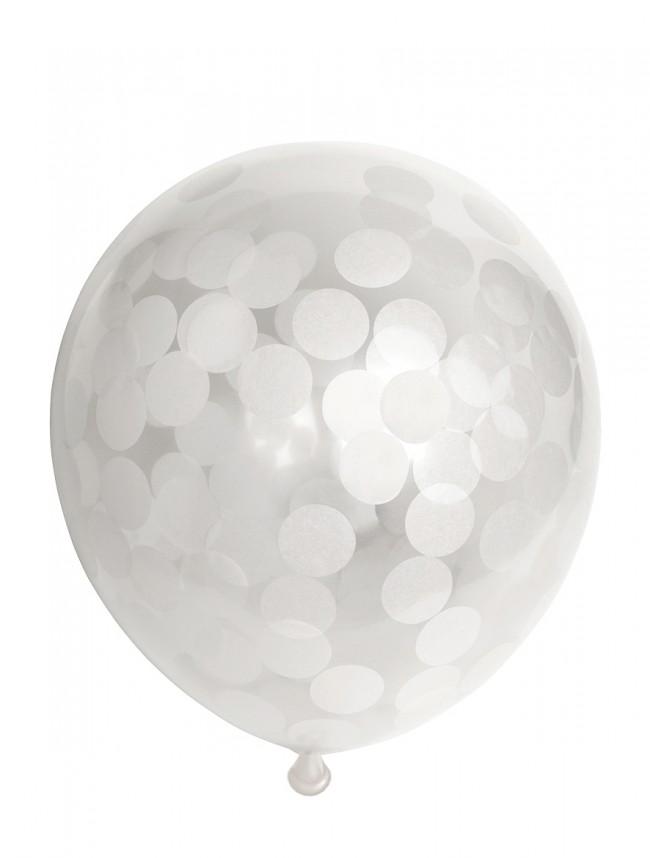 "6st Ballonnen met Confetti Wit 12"""