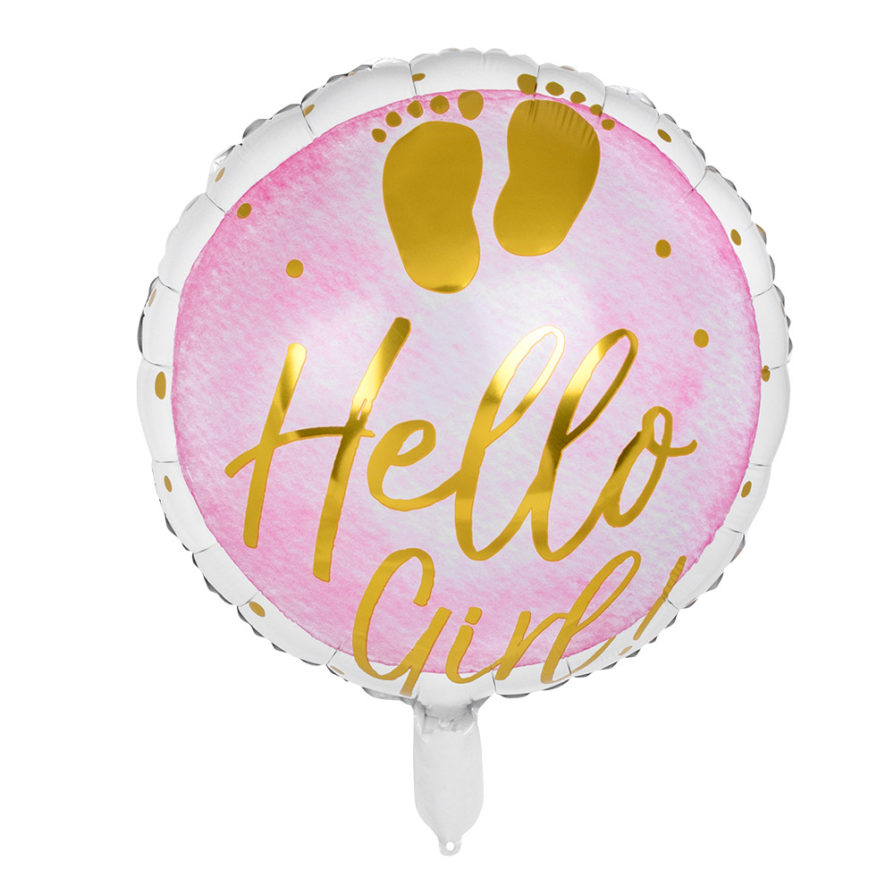 Folieballon Hello Girl Roze 45cm