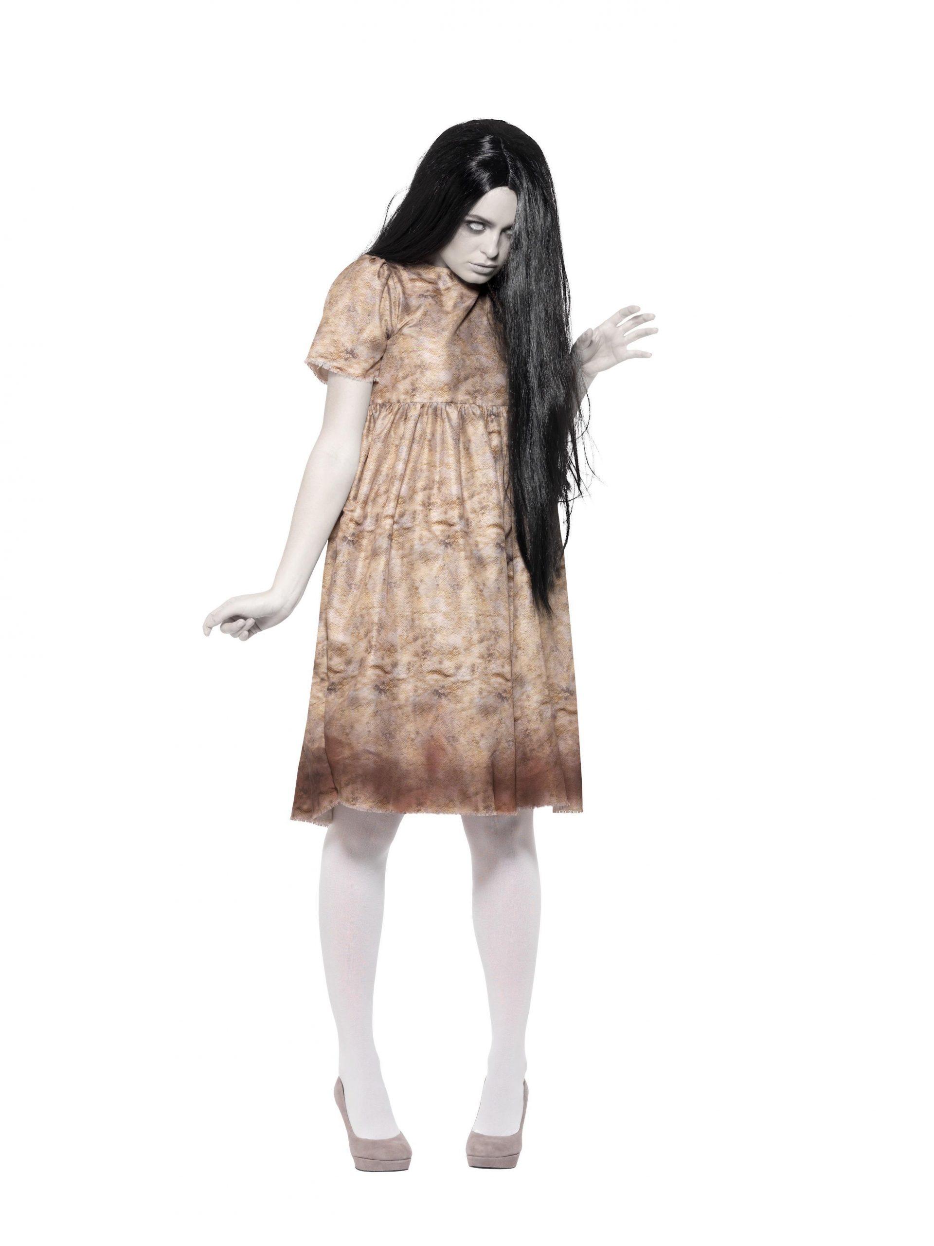 Jurkje Zombie Spook Grijs met Pruik Dames