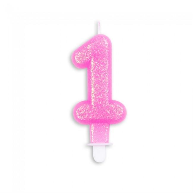 Kaars Glitter Roze Nr.1 7cm