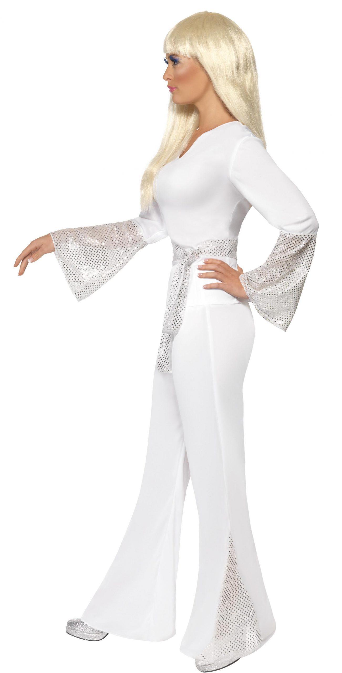 Kostuum Disco Wit met Glitter Dames