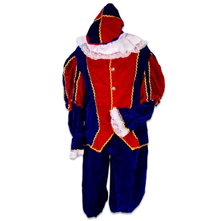 Kostuum Piet Fluweel Rood/Blauw Mt.M