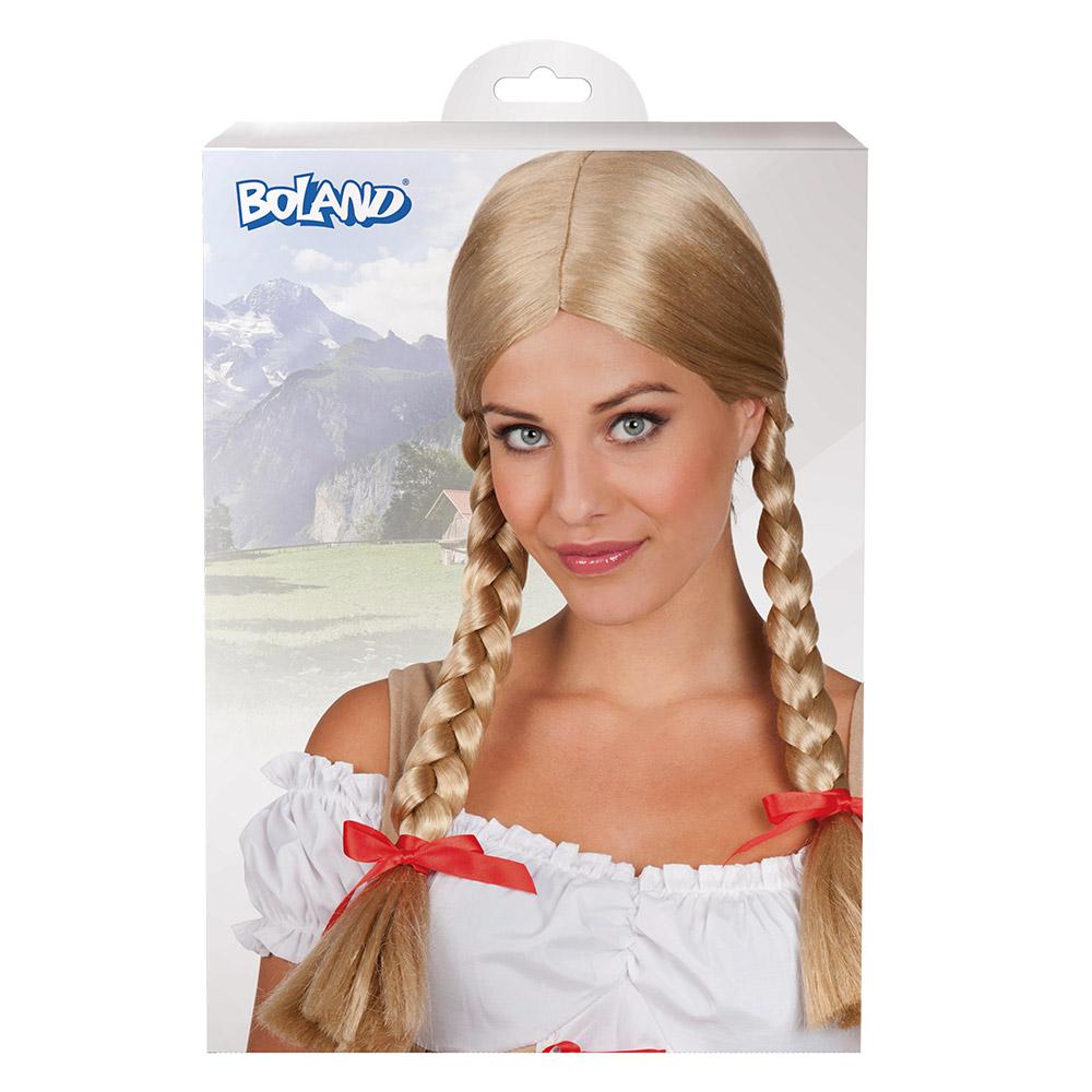 Pruik Heidi Blonde vlechten
