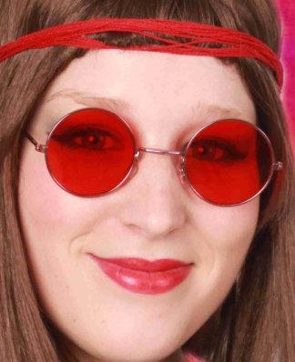 Hippie/Uilebril Rood Glas