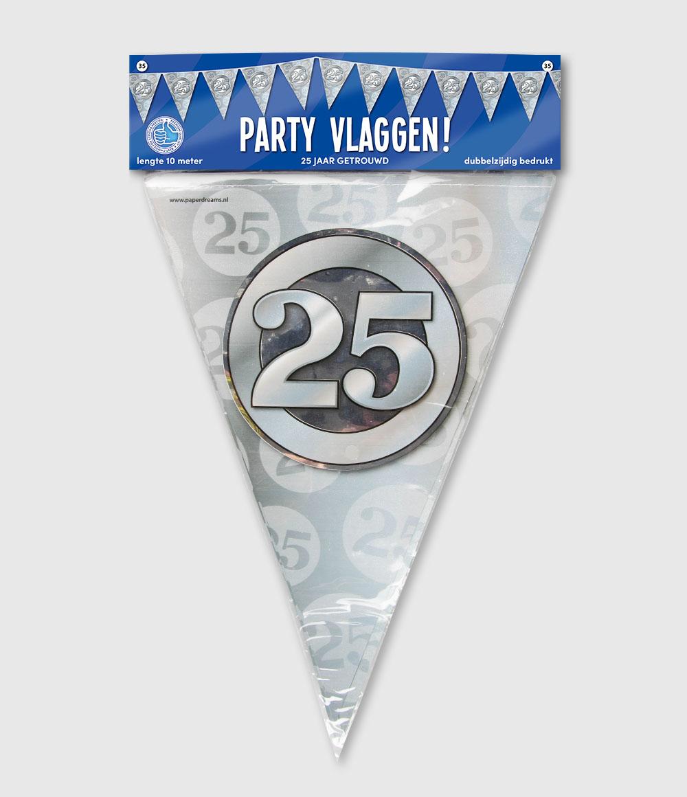 10m Vlaggenlijn 25 Jaar Getrouwd Zilver