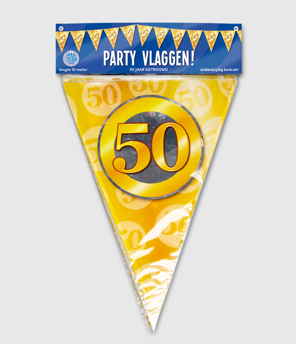 10m Vlaggenlijn 50 Jaar Getrouwd Goud